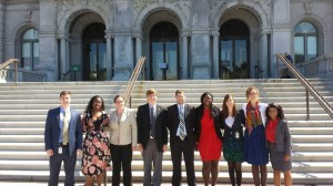 Eight of the UIndy Lugar Academy students stand alongside their professor, Samuel Potolicchio, in front of The Library of Congress in Washington, D.C. Photo contributed by Ben Keller