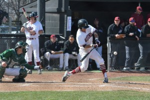 Senior infielder Luke Andrade swings at an incoming pitch during a home game against the Missouri S&T Miners March 21-22. UIndy went 3-1 in the four-game series. Photo by Laken Detweiler