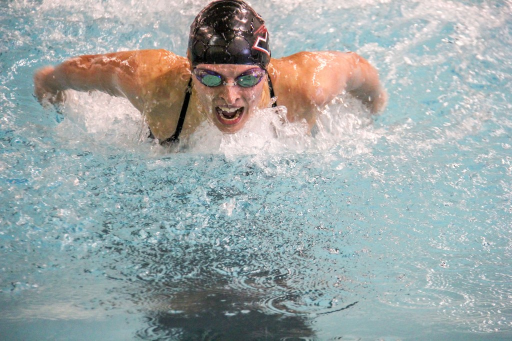Sophomore Laura Bem and fellow teammates took second in the 400-yard medley relay against GVSU. Photo by Maddie Hays