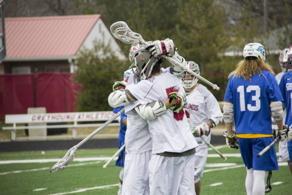 Freshman attack Parker Kump celebrates after one of his five goals. Photo by Cassie Reverman