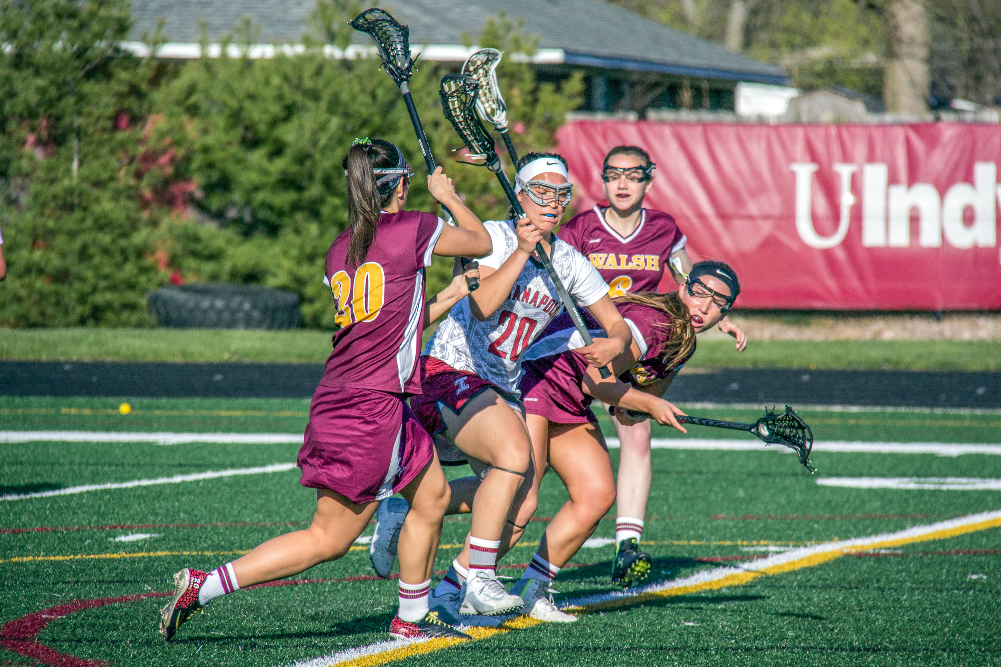 Junior midfield Erika Mackenzie had two goals in the Greyhounds matchup against Walsh University on April 15. The Greyhounds beat the Cavaliers 19-10. Photo by Cassie Reverman