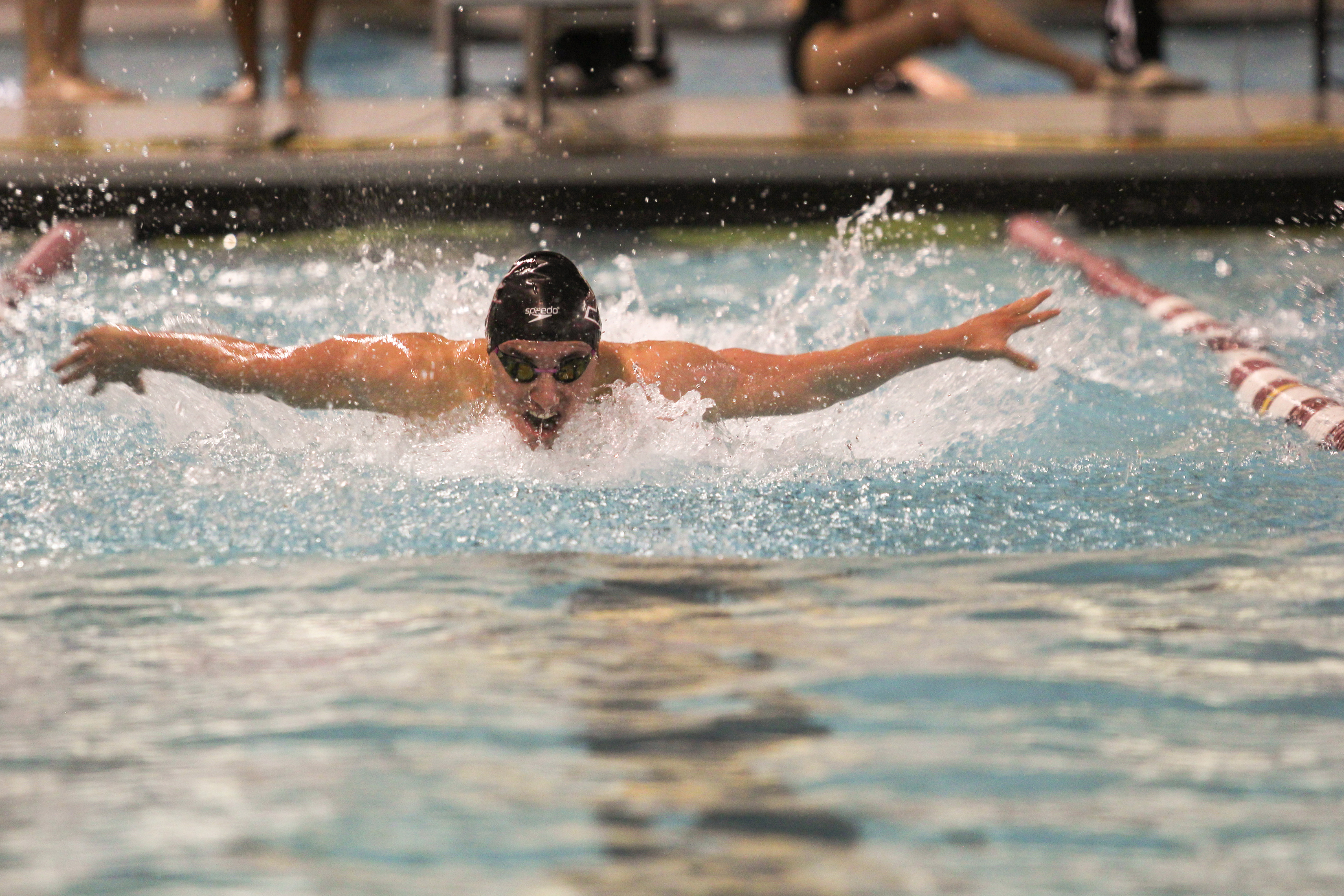Sophomore Demetrakis Haholiades competes in freestyle against McKendree University, Lewis University and Bellarmine University on Nov. 5 at the Ruth Lilly Center. Photo by Jennifer Ulery