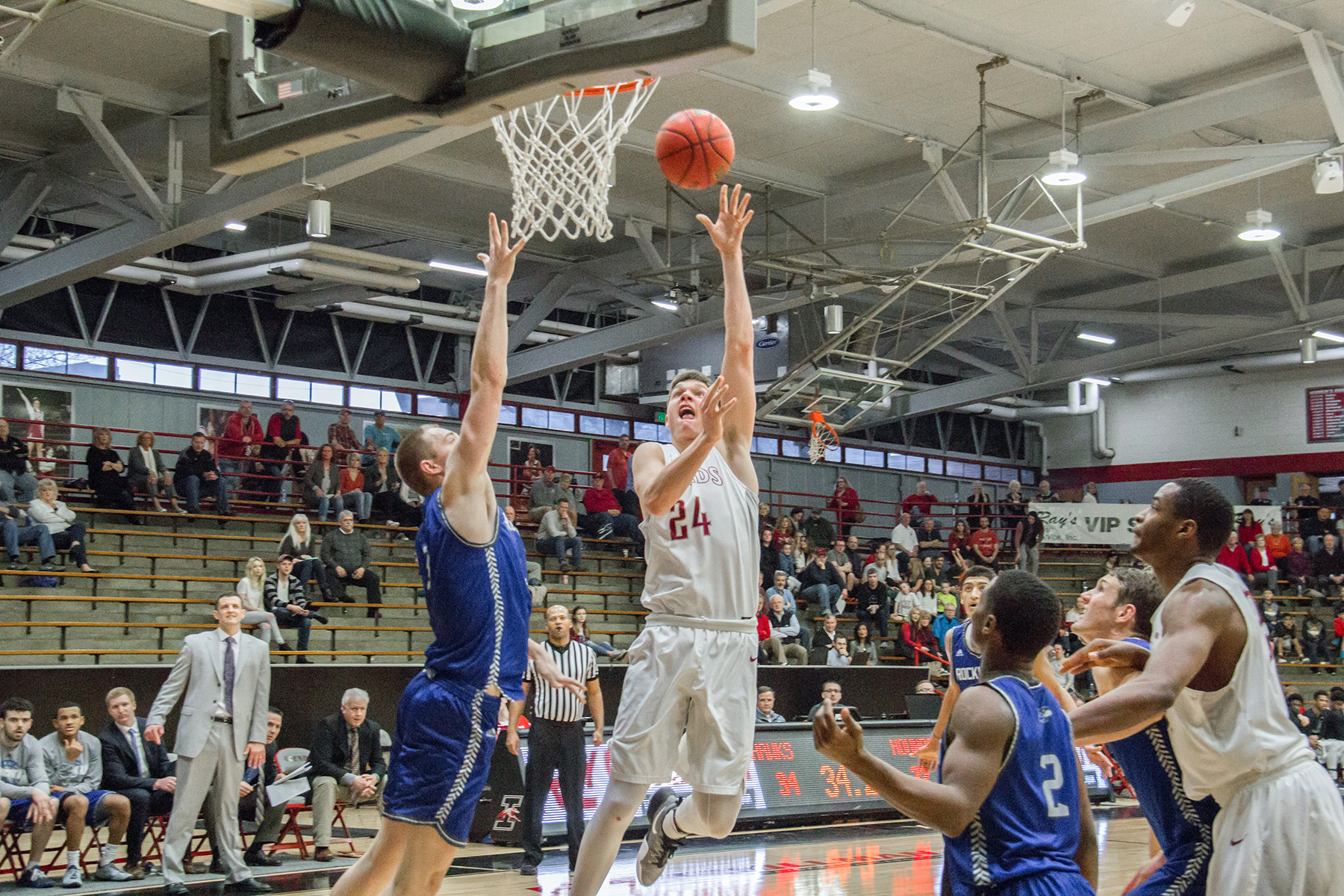 Freshman guard Tate Hall recorded 15 points in the victory over Rockhurst University on Feb. 11. Hall was also been named the Great Lakes Valley Conference Freshman of the Year, prior to the end of the season. Photo by Cassie Reverman