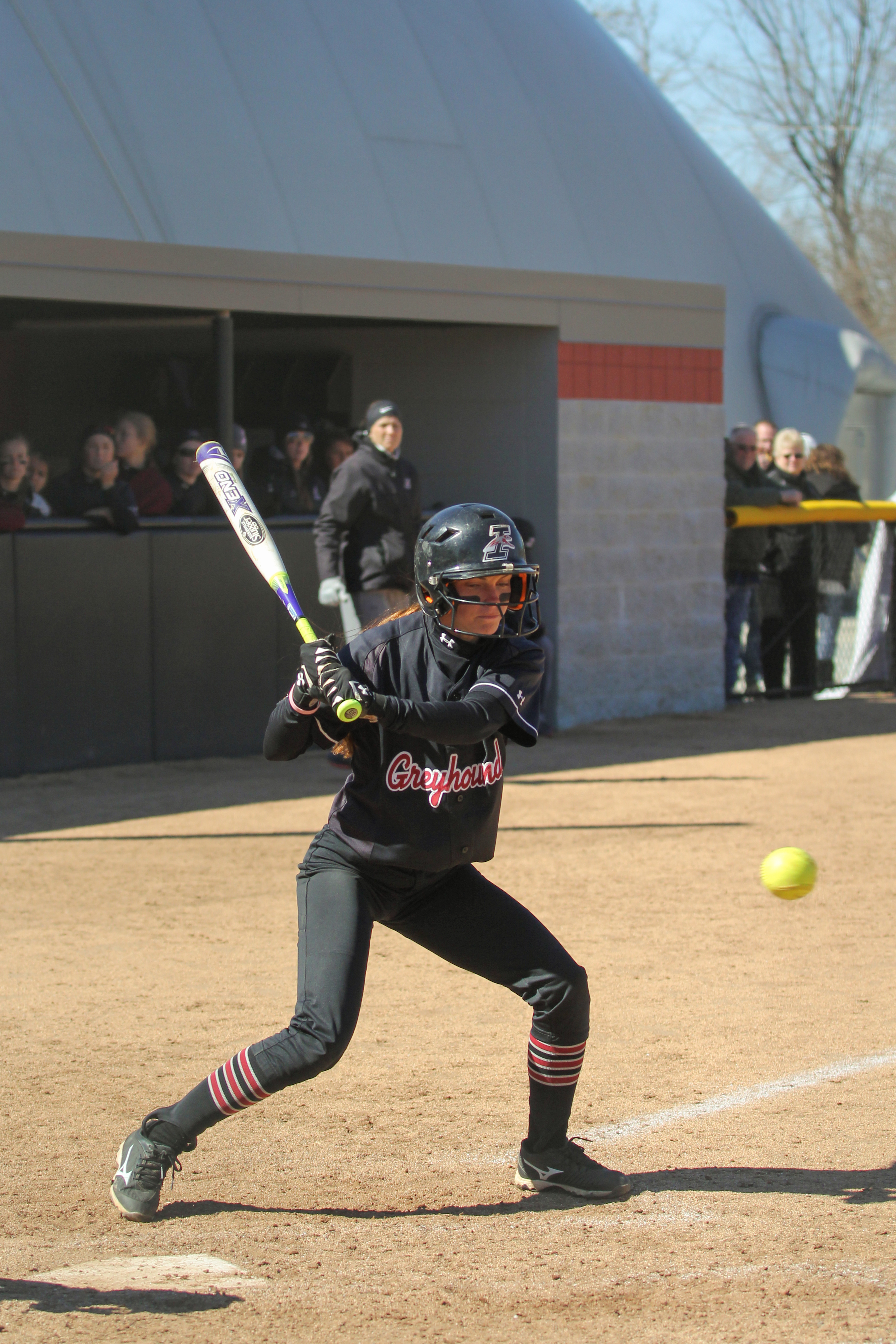 Junior outfielder Jesse Noone had three hits out of four attempts at the plate in game two in the double header against the Ohio Dominican University Panthers. The women won both games 4-1 and 6-0. Photo by Angie Mercado