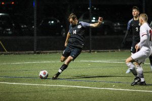 Freshman back Connor Campbell made one shot attempt in the first round of the NCAA tournament against the Maryville University Saints on Nov. 10. The Hounds concluded the game with a 1-0 loss, to end their season. Photo by Cassie Reverman