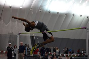 Junior jumper Deandre Bluitt contributed one of multiple wins for UIndy at the UIndy Tom Hathaway Distance Classic on Jan. 26-27 with a high jump of 2 meters. Photo by Cassie Reverman