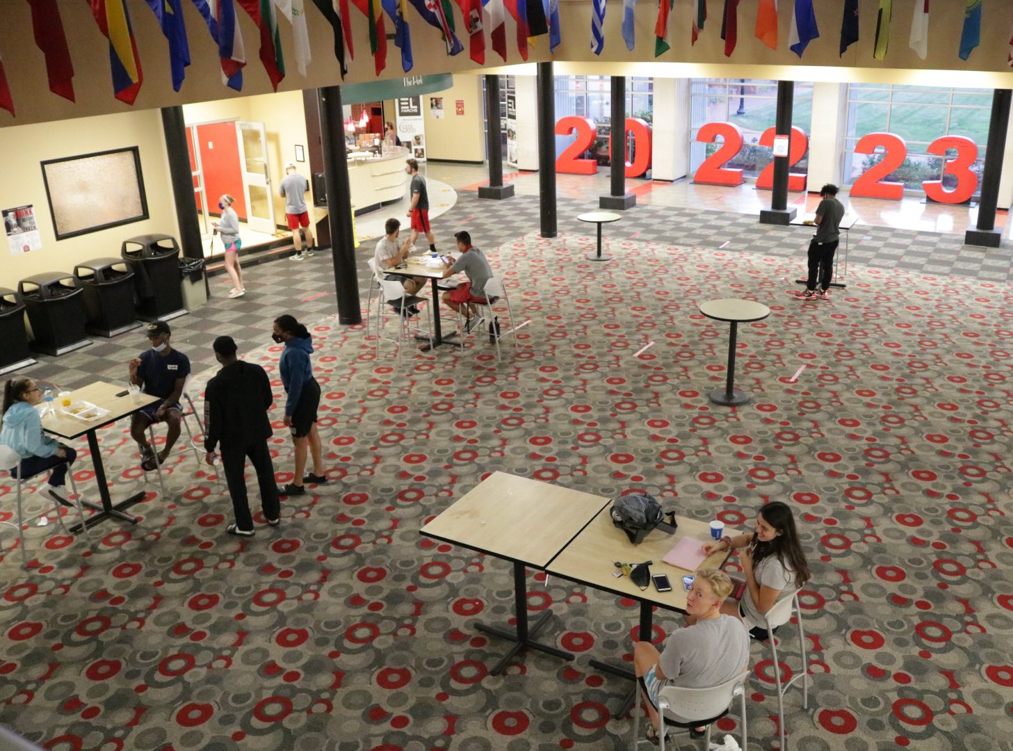 The Shreve Atrium of Schwitzer Student Center looks different from past years as tables and chairs were moved out of the atrium in order to follow social distancing guidelines.