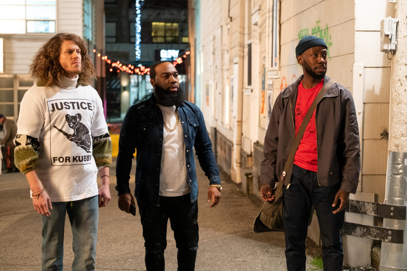 From left to right: Gunther played by Blake Anderson, Clovis (T. Murph) and Keef (Lamorne Morris) star in 'Woke' on Hulu.