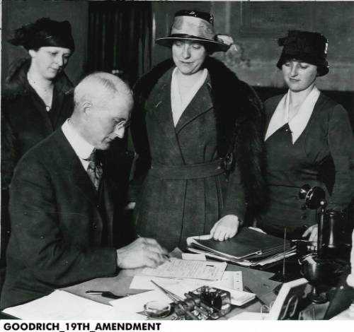 Former Indiana Govenor James P. Goodrich signs the document to ratify Indiana's passage of the 19th Amendment to the U.S. Constitution on Jan. 16, 1920.