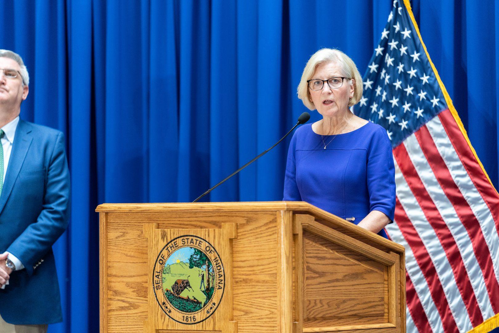 Indiana State Health Commissioner Kristina Box speaks to the media.