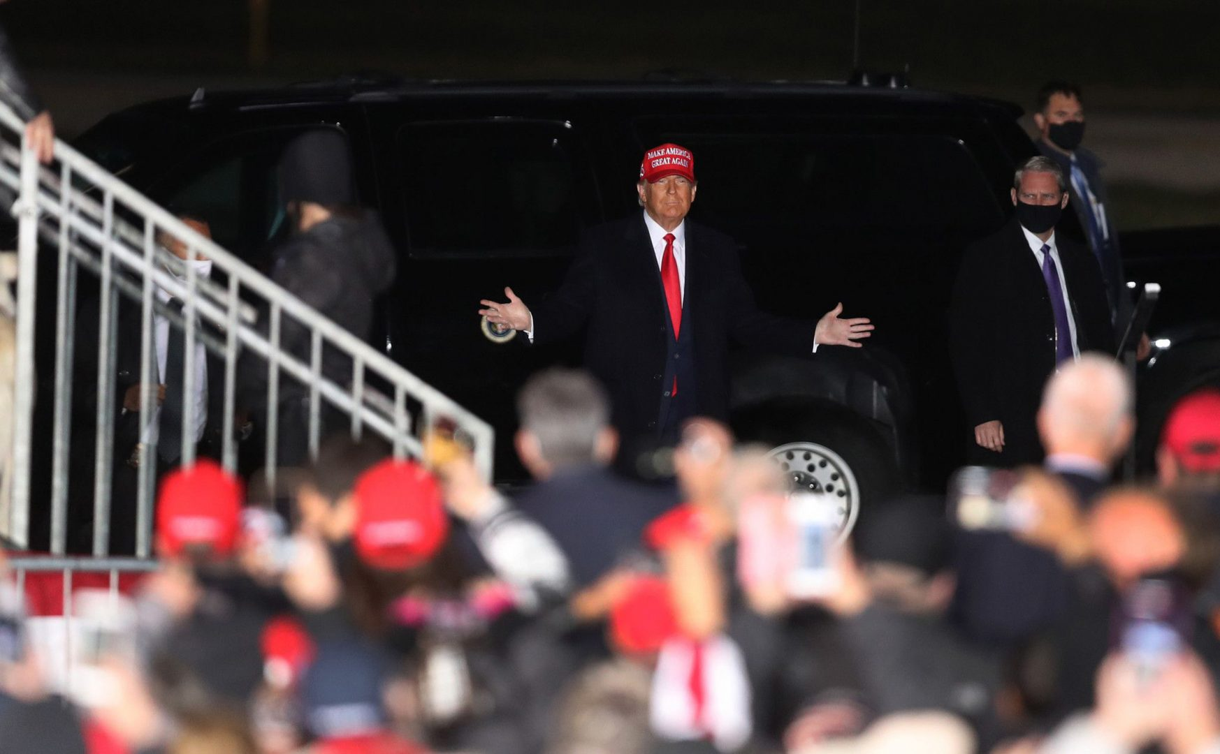 President Donald Trump arrives before speaking at a campaign rally at Southern Wisconsin Regional Airport in Janesville, Wisconsin on Saturday, Oct. 17, 2020.