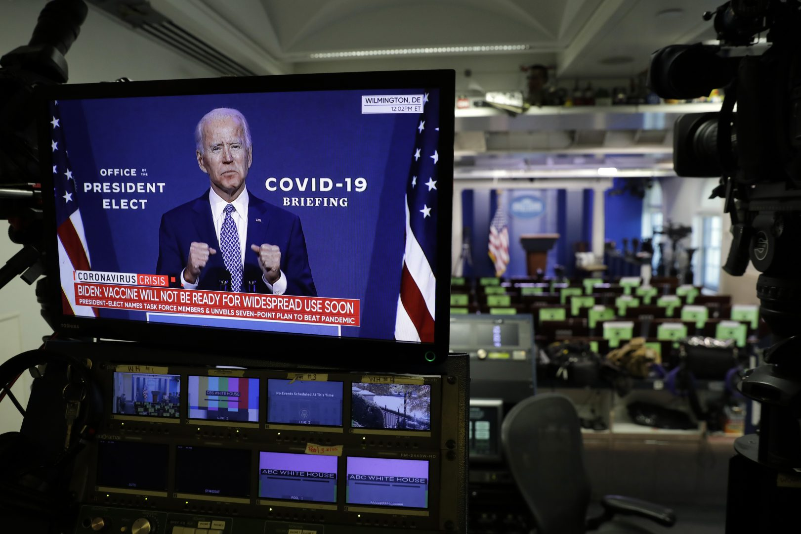 Democratic President-elect Joe Biden is seen during his statement on television monitors in the briefing room at the White House in Washington on November 9, 2020.